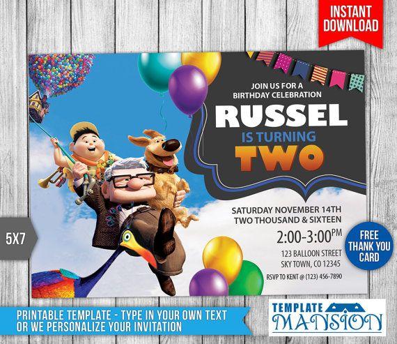 Up Movie Invitation Up Movie Birthday by TemplateMansion on Etsy - birthday invitation card template photoshop