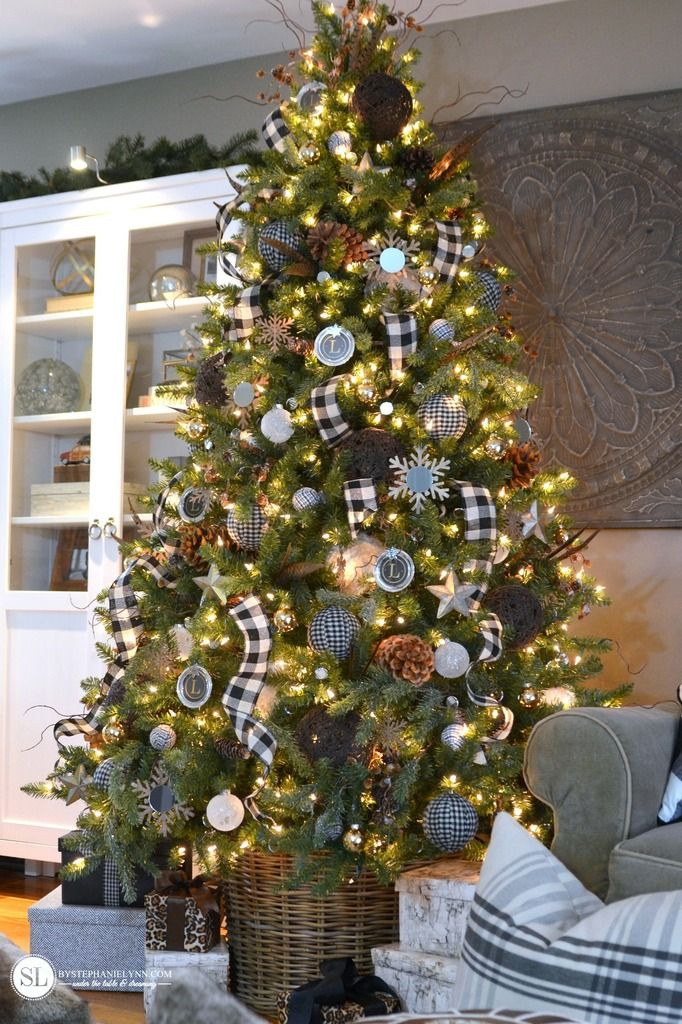 Black And White Plaid Buffalo Check Christmas Tree 2015 Michaels Dream Tree Challenge Bystephanielynn Plaid Christmas Decor Plaid Christmas Tree Buffalo Check Christmas Decor