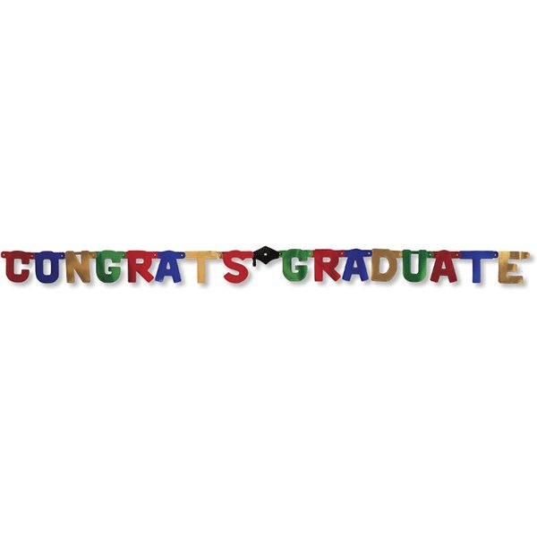 Multicolor Congrats Graduate Jointed Banner 9ft