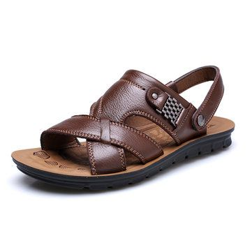 Beautiful US Size 6.5 11.5 Men Genuine Leather Flat Sandals Beach Slippers Shoes Nice Look
