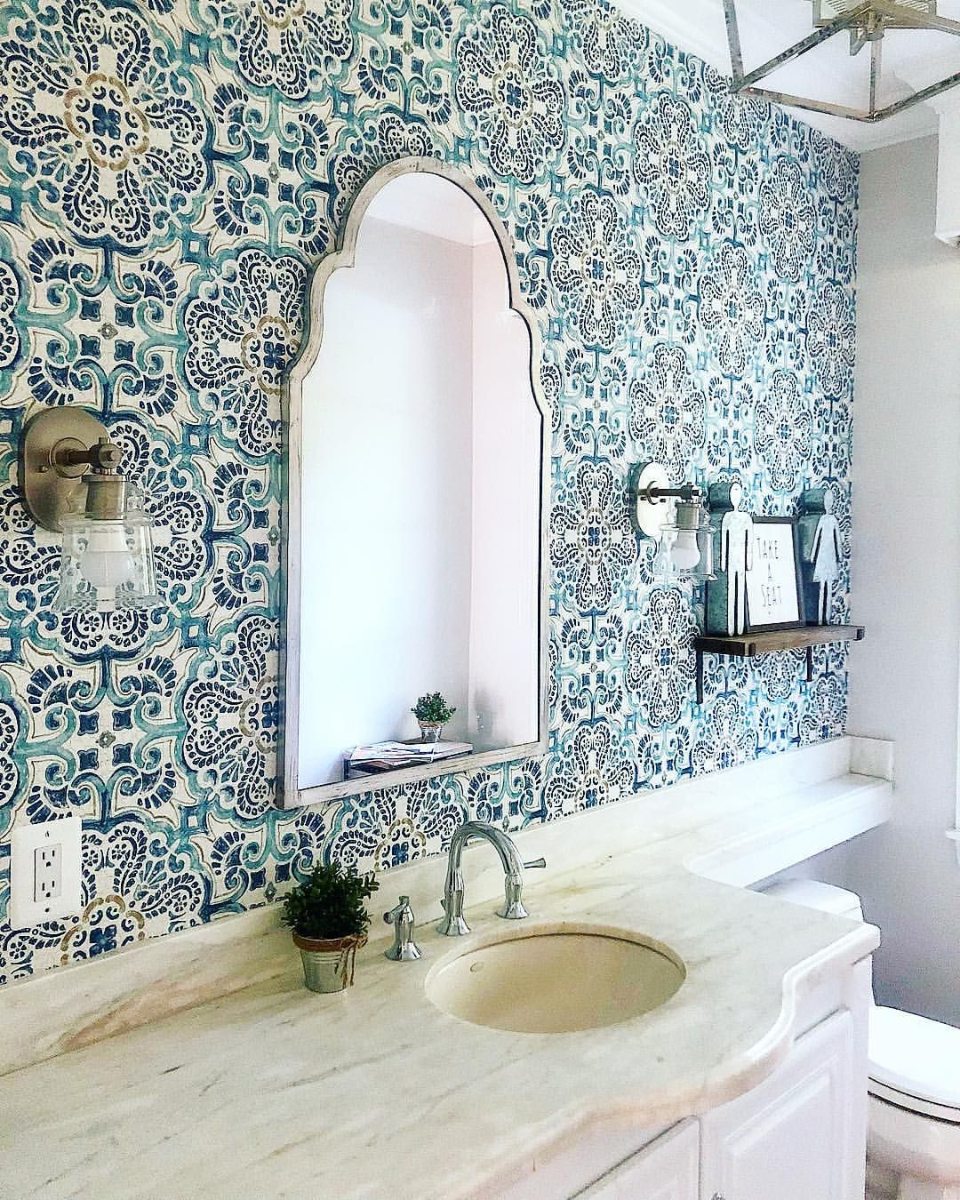I love the tile backsplash I. This powder bath. bathroom