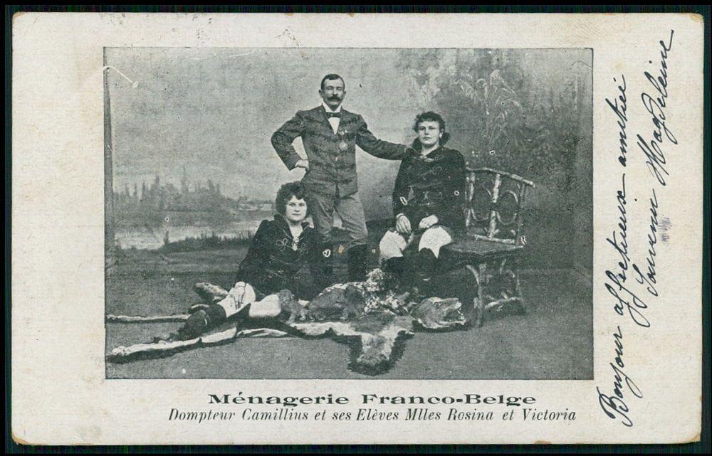 Circus lion tamer man teacher ladies pupils original old 1910s circus lion tamer man teacher ladies pupils original old 1910s postcard m4hsunfo