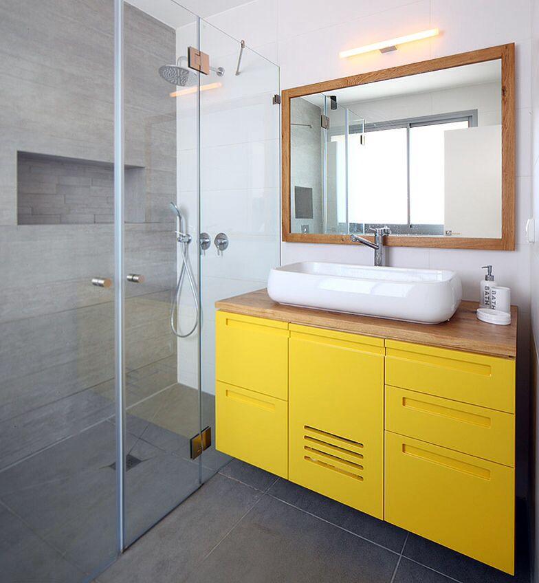 Yellow Bathroom Cabinet By Studio Dulu, Israel