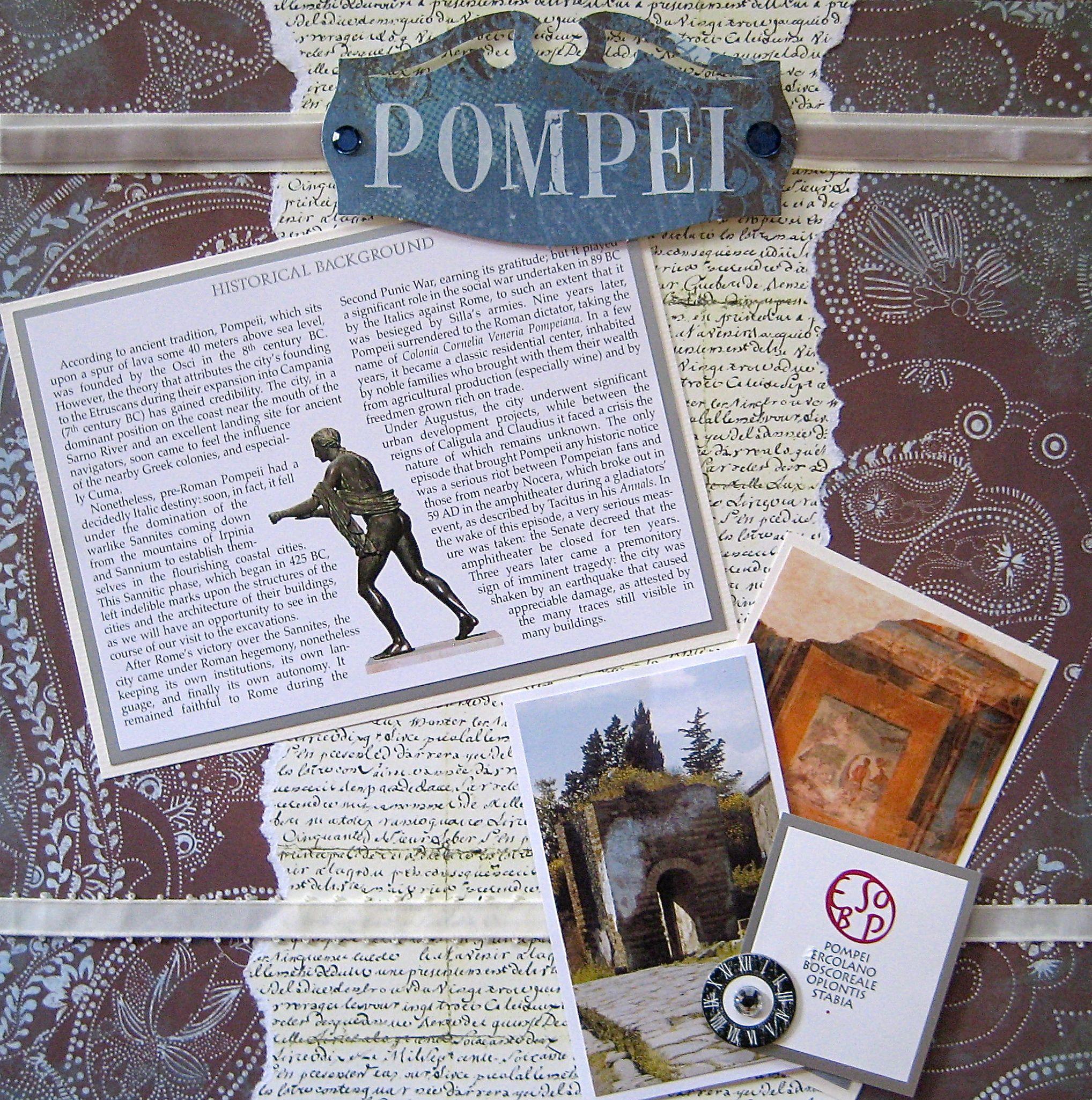 Juliet scrapbook ideas - Scrapbook Layout Travel Pompeii Italy