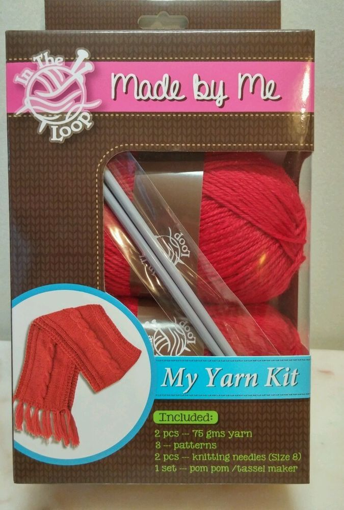 Cable Scarf Yarn Kit  3 knitting patterns needles tassel maker Red New in box #FutureSales