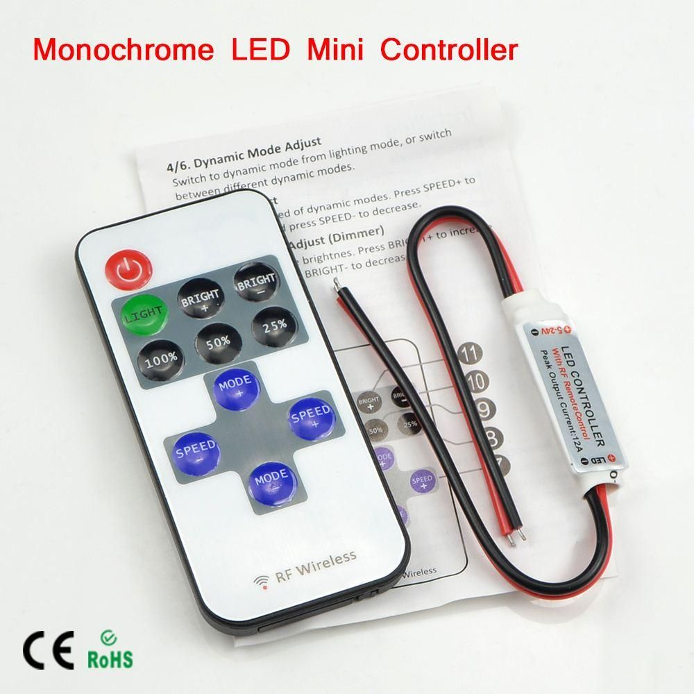 Mini Wireless Rf Single Color Led Dimmer Dc 5v 12v 24v 11key Remote Controller For Led Strip 5050 3528 2835 5630 Control