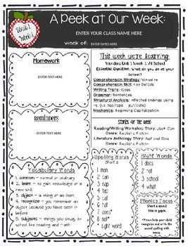 Editable First Grade Weekly Newsletter Pack To Correlate With