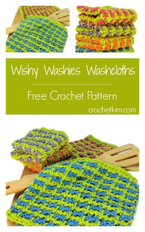 Wishy Washies Washcloths Free Tunisian Crochet Pattern Whats Free