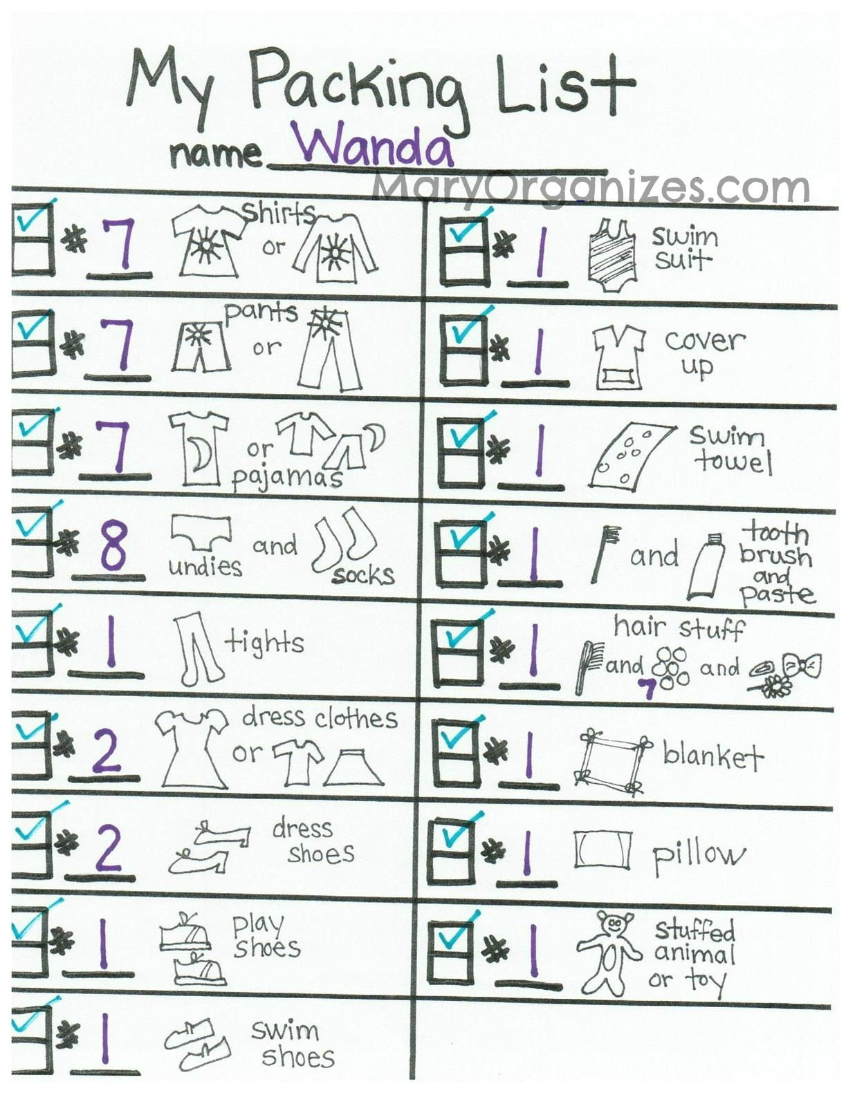 A Packing List Just For Kids  Packing Ideas And Vacation
