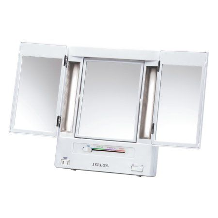 Jerdon Tabletop Tri Fold 2 Sided Lighted Makeup Mirror