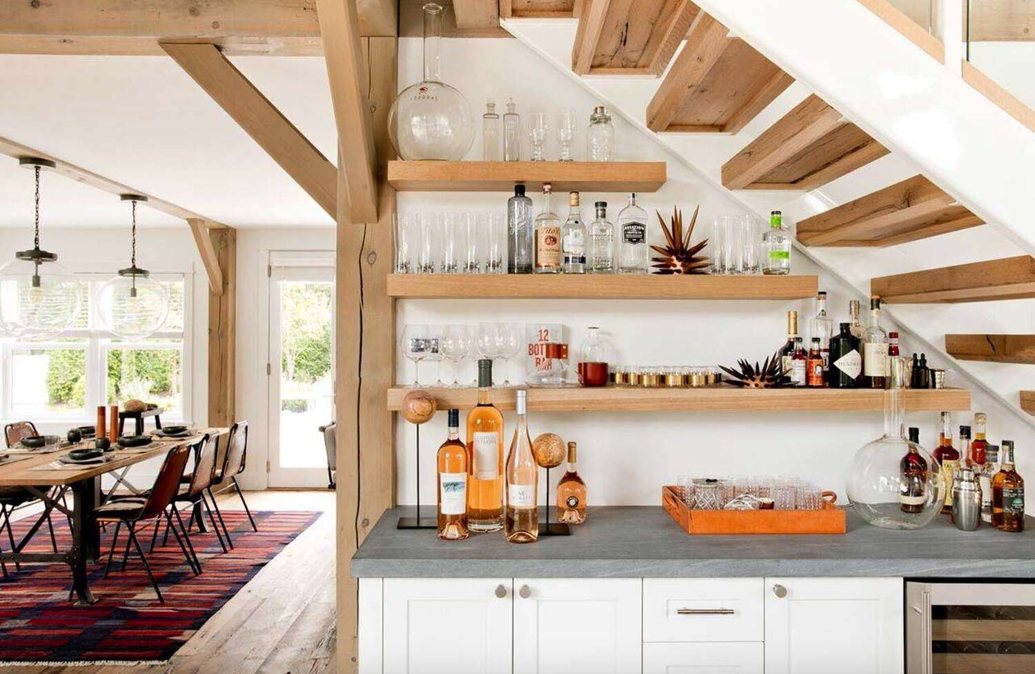 ultra chic farmhouse style dwelling in the village of sag harbor kitchen under stairs bars on kitchen under stairs id=24841