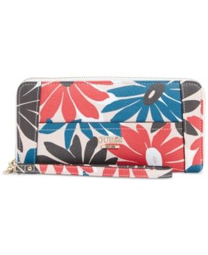 Guess Huntley Large Zip Around Wallet - Floral Multi