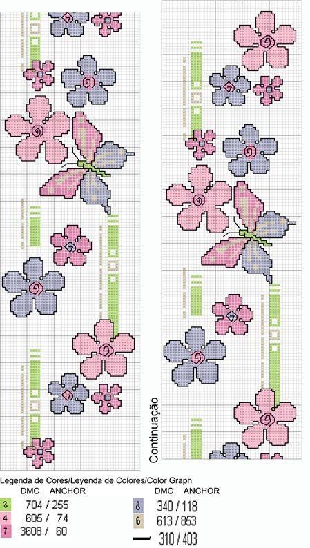 Bordo fiori e farfalle a punto croce punto de cruz for Schemi punto croce fiori e farfalle