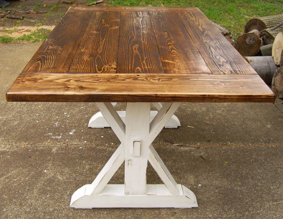 Reclaimed Wood Trestle X Farmhouse Table pictured in other images with bead
