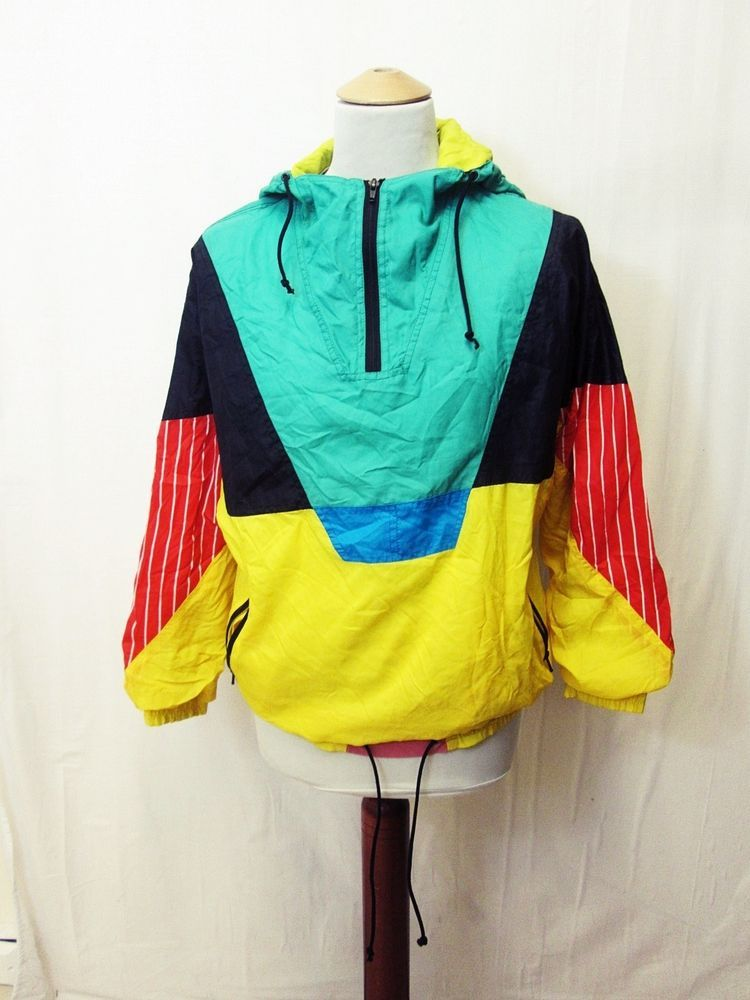 Vintage 80s Bright Geometric Unisex Tracksuit Festival Hipster Sport Jacket M Sportswear Outfits Retro Fashion Clothes