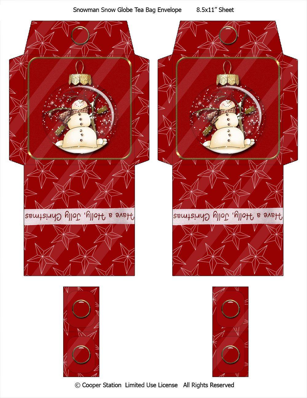 Digital tea bag envelope snowman theme by cooperstation on etsy