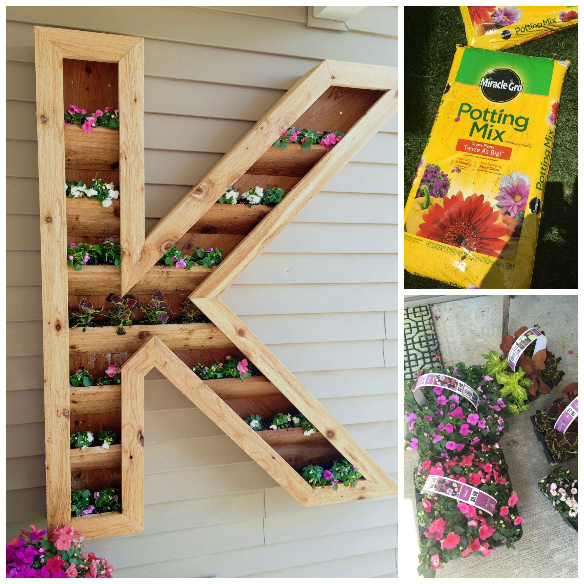 DIY Cedar Monogram Planter Box | DIY | Planter boxes, Diy monogram