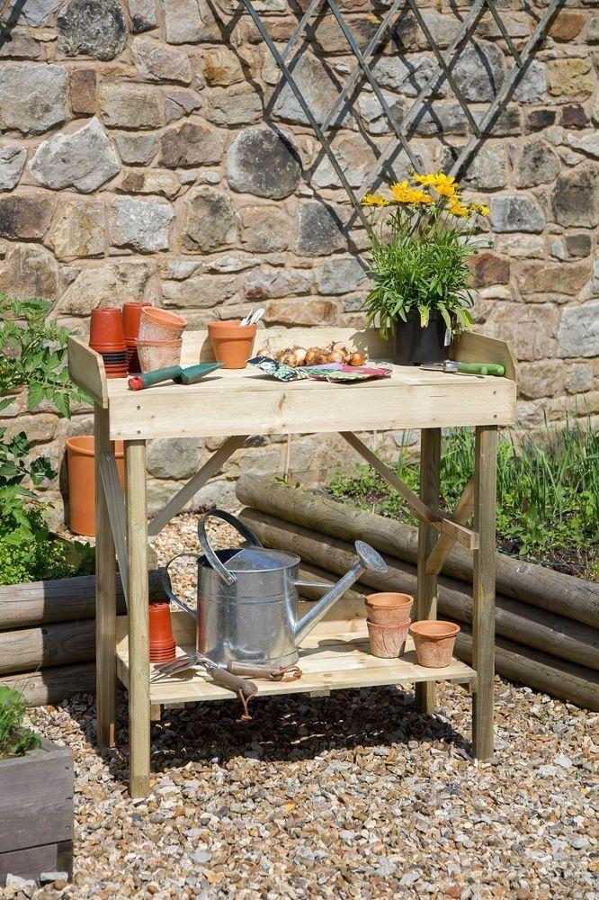Garden Potting Table Gardeners Work Bench Plant Flower Storage Shelf Wood Timber #GardenPottingTable