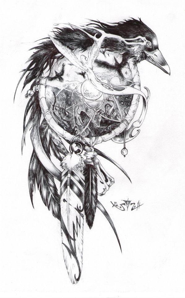 09f13fdb35523 Crow dream catcher   Tattoo ideas   Raven tattoo, Crow tattoo design ...