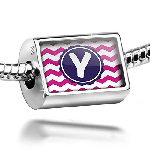 Sterling Silver Charm Monogram YPink Purple Chevron  Bead Fit All European Bra *** To view further for this item, visit the image link.
