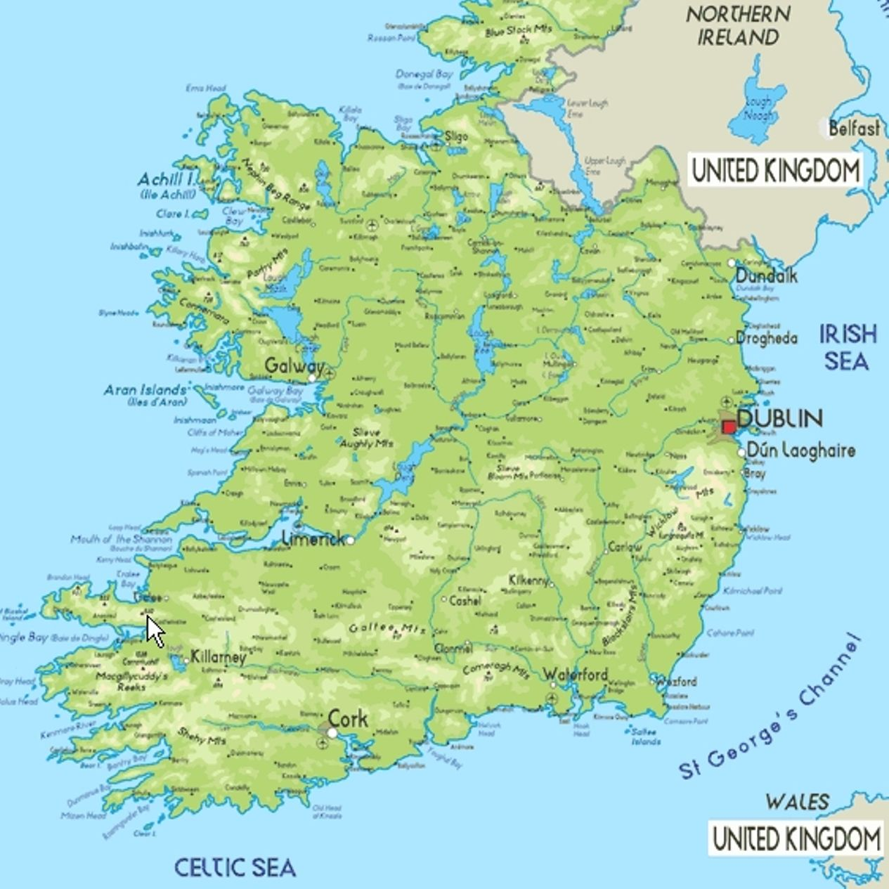 Map Of Ireland Kaart Van Ierland Ireland Ireland Travel Travel