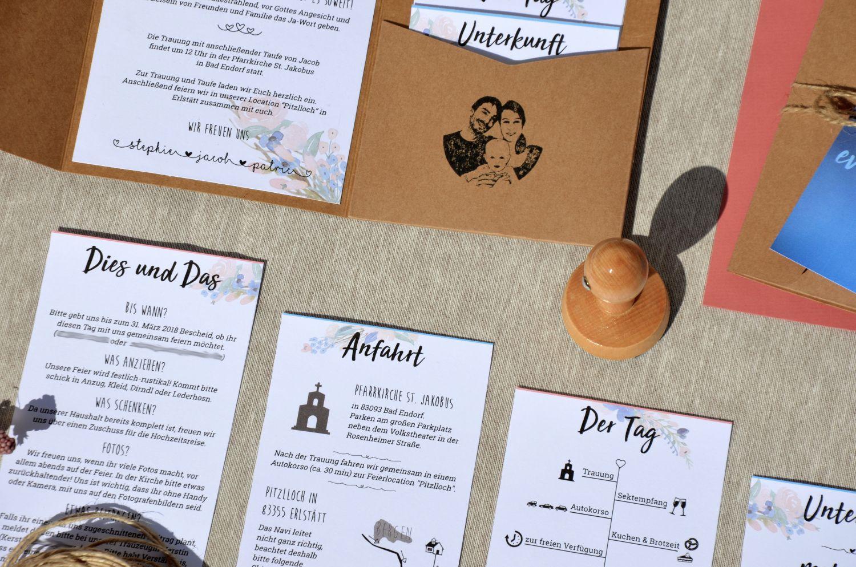Hochzeitseinladung – Kraftpapier Taschenfalte mit Blumenranken – DIY Hochzeit   – Hochzeit 2020