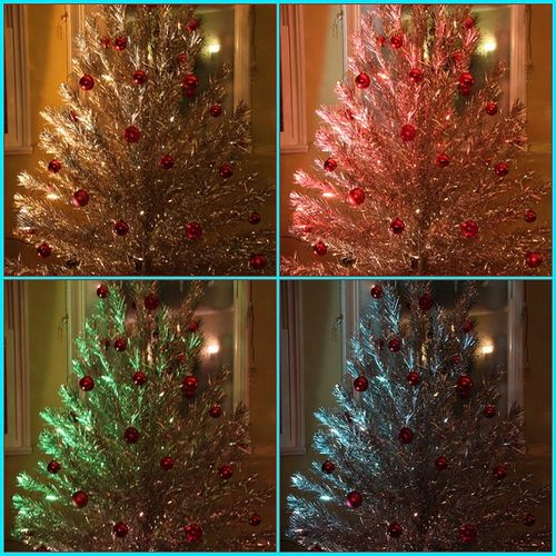 Tinsel Tree And Color Wheel Merry Christmas Vintage Aluminum Christmas Tree Tinsel Christmas Tree