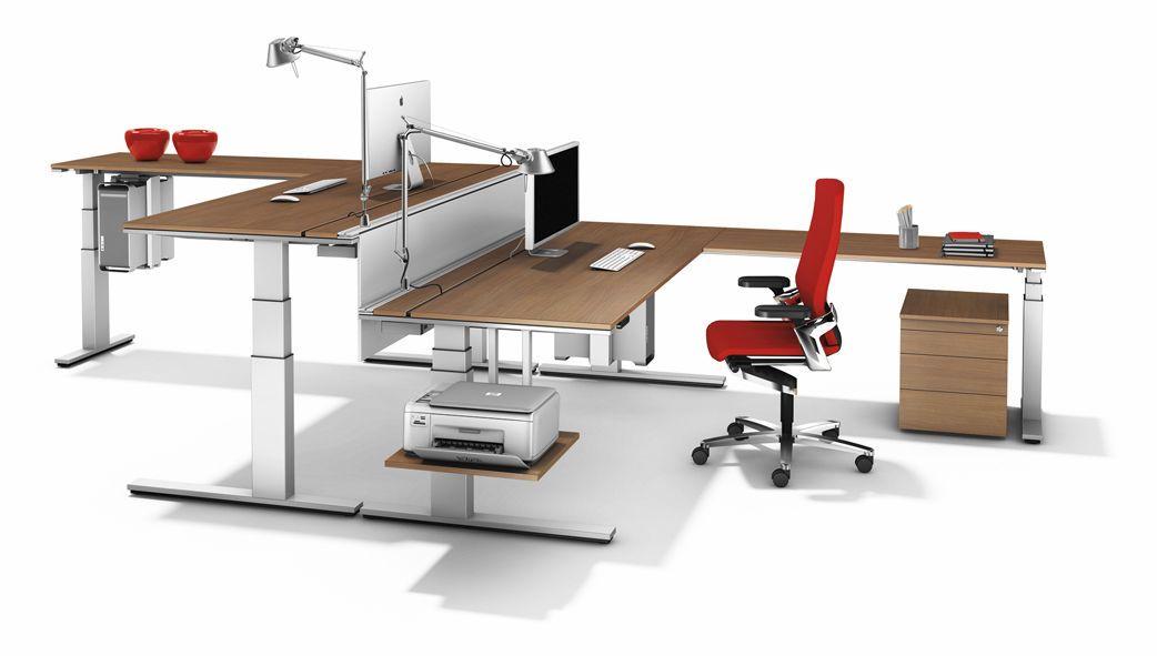 Multimedia desk / contemporary / wood veneer / height-adjustable ...