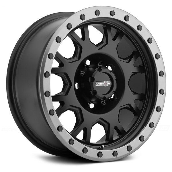Vision Off Road Gv8 Invader Matte Black With Anthracite Lip Wheel Rims Ford Trucks Wheel