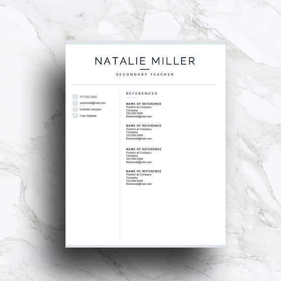 Teacher Resume Template Package That Includes A   And  Page