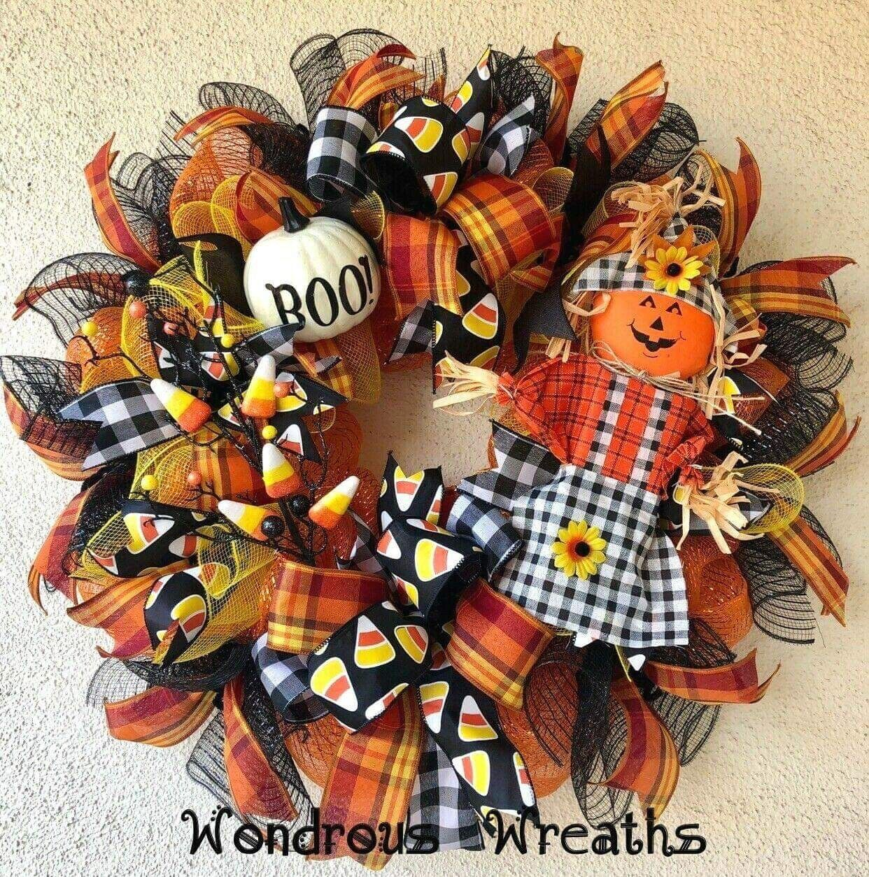 Halloween Decor Wreath with Cute Jack-o-lantern Sc