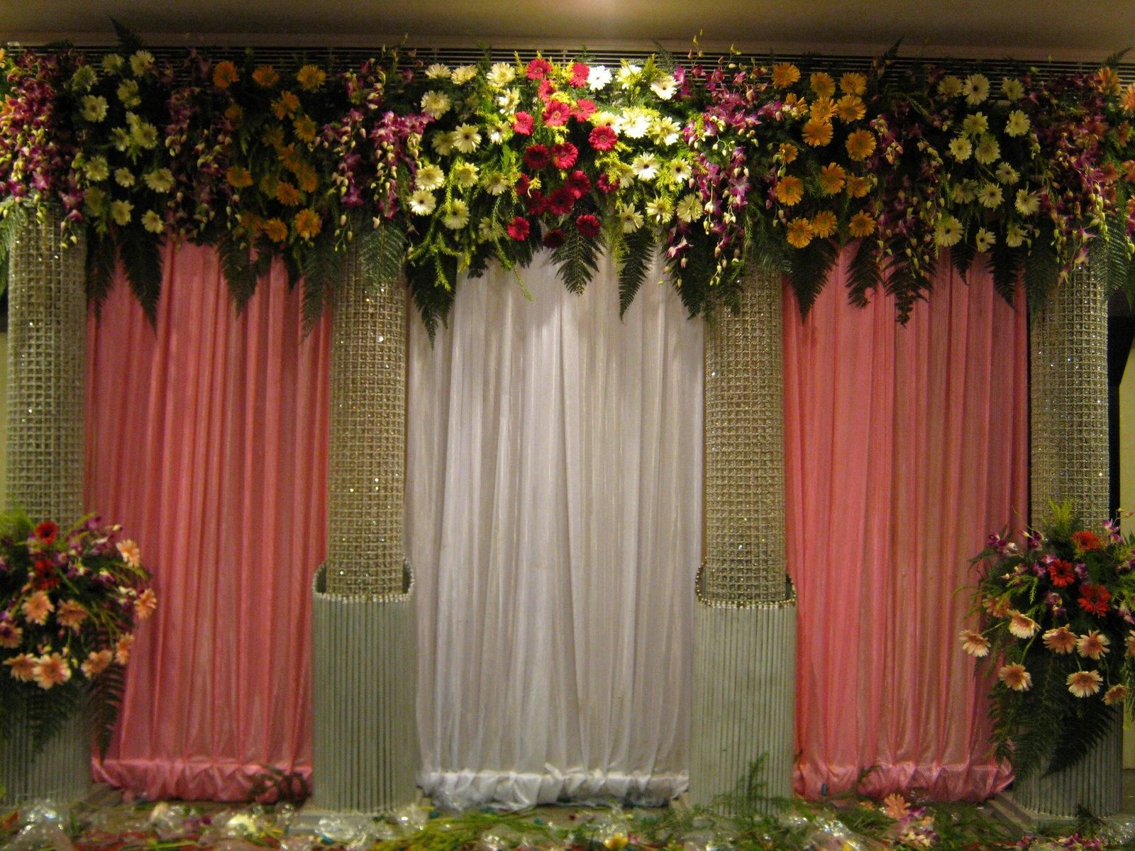 Wedding stage decoration without flowers flower wedding stage decor  vyasa puja backdrop ideas  Pinterest