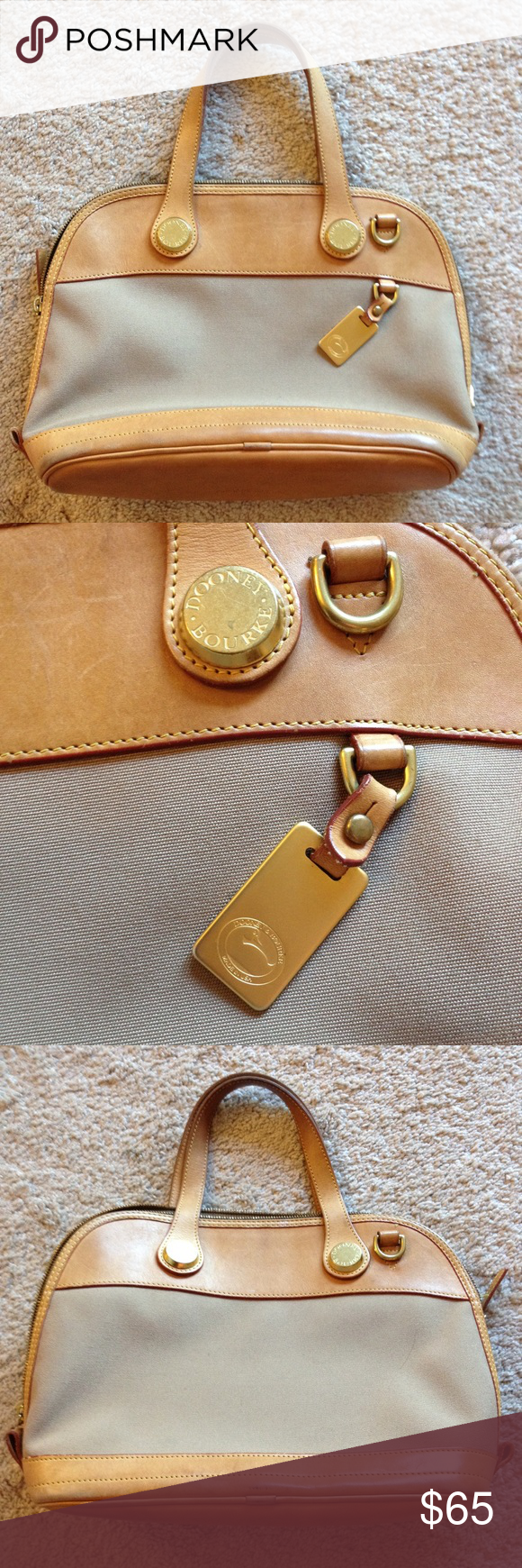 ‼️SALE‼️ $85⬇️$65 DOONEY&BOURKE tan leather purse Tan leather and beige fabric DOONEY & BOURKE purse. Great size and easy to access interior pockets. Gold hardware. Pre-owned, excellent condition. Dooney & Bourke Bags Totes
