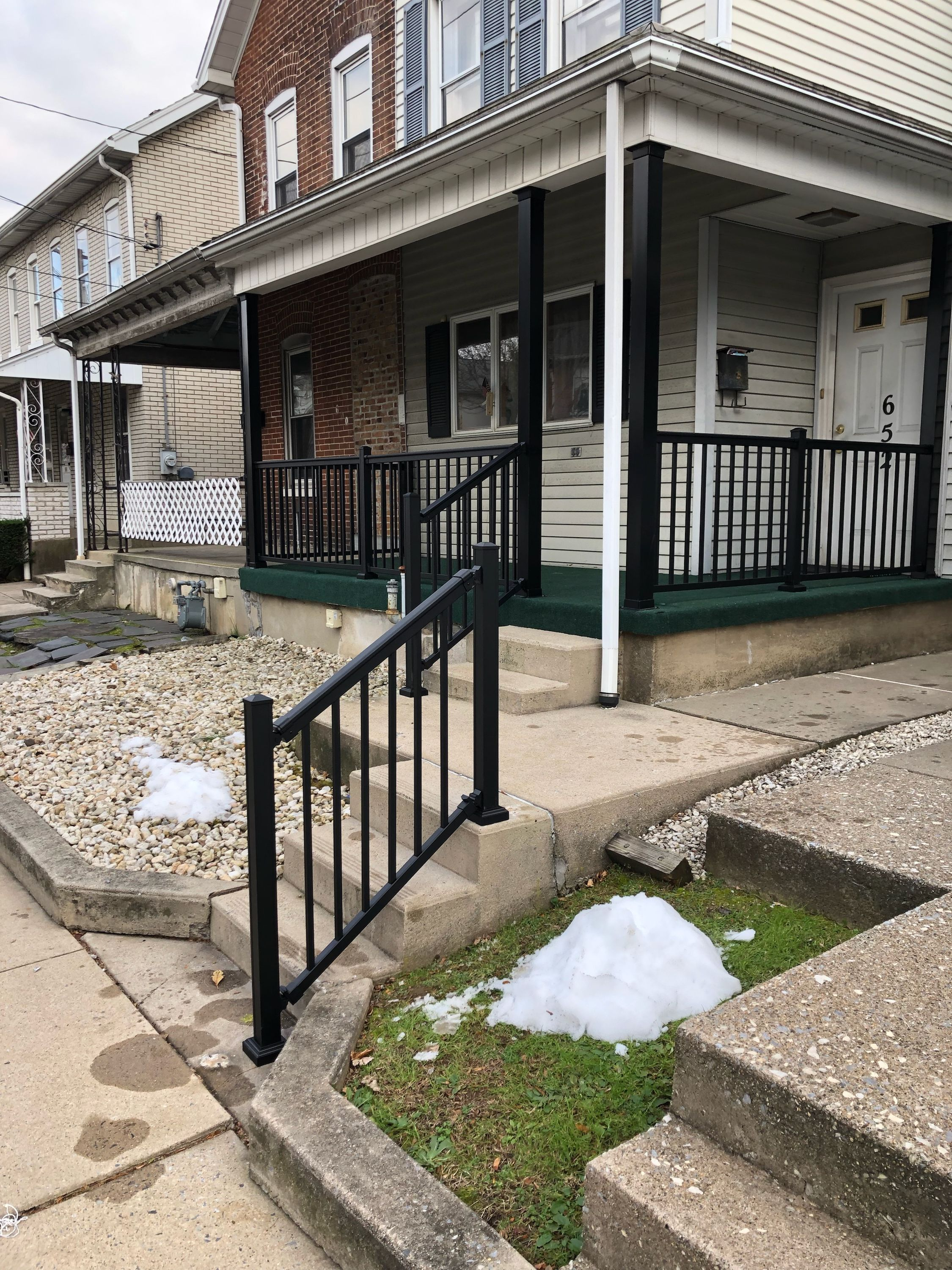 Replaced Old Porch Railing With Black Aluminum And Newel Posts Structural