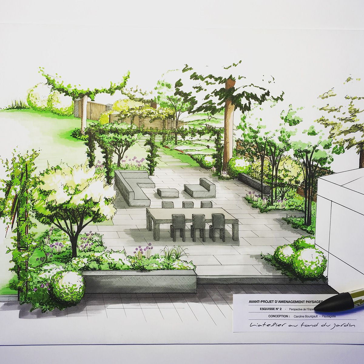 Am nagement paysager d 39 une terrasse de style contemporain dans l 39 enceinte d 39 un jardin d j - Creer un jardin contemporain ...