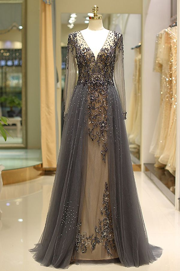 [258.50] Winsome Tulle V-neck Neckline Floor-length A-line Evening Dress With Beadings - laurenbridal.co