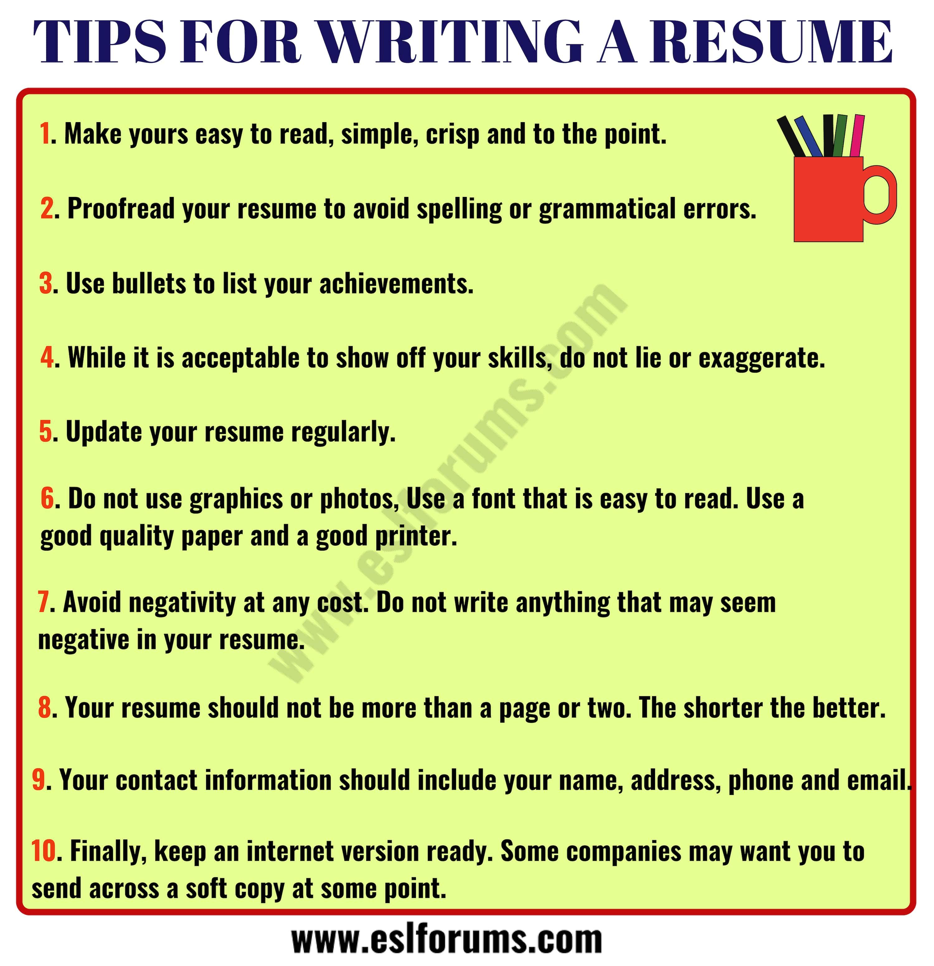 Resume tips how to write a professional resume esl