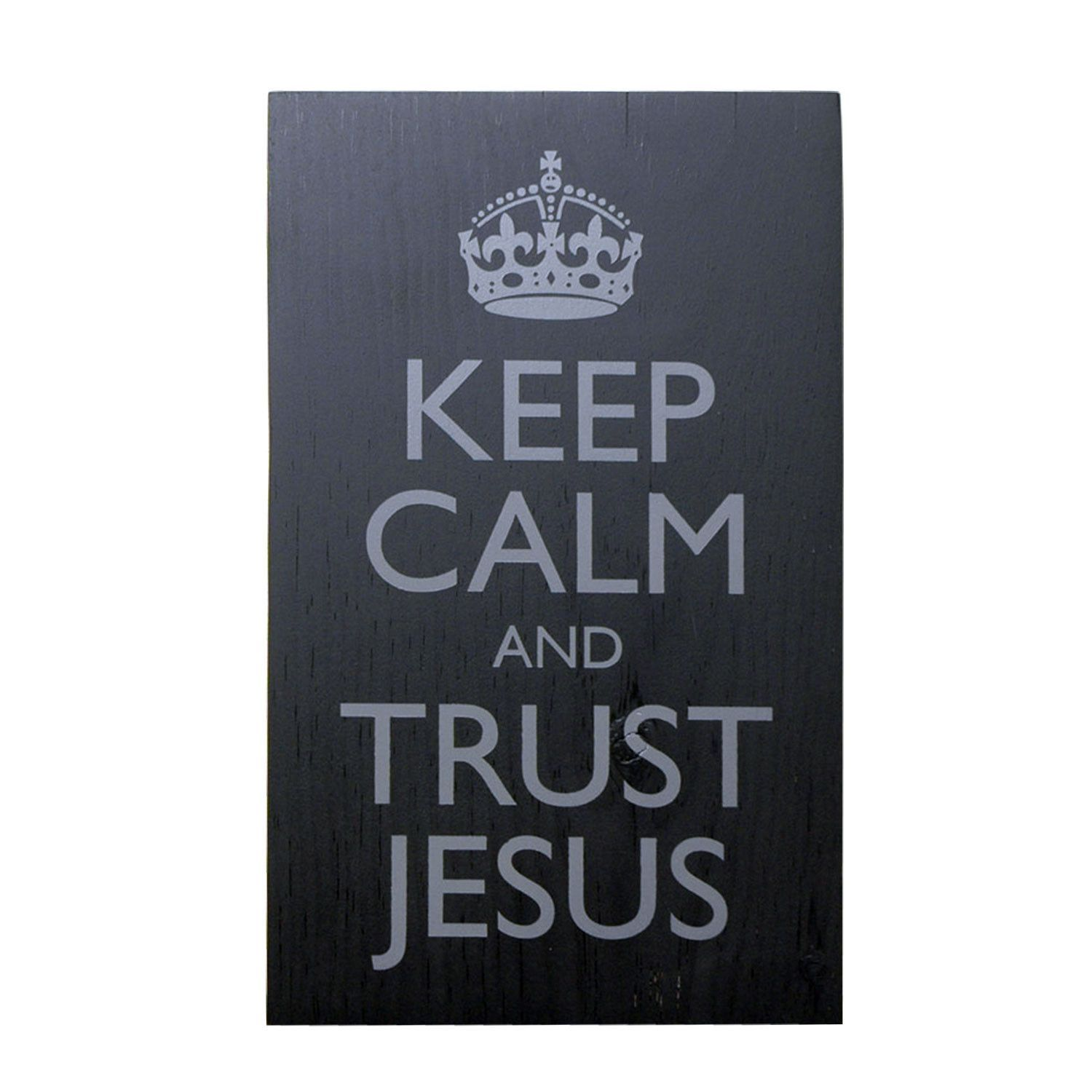 Keep Calm And Trust Jesus, Wooden Wall Sign, Christian, Wall Decor, Wall