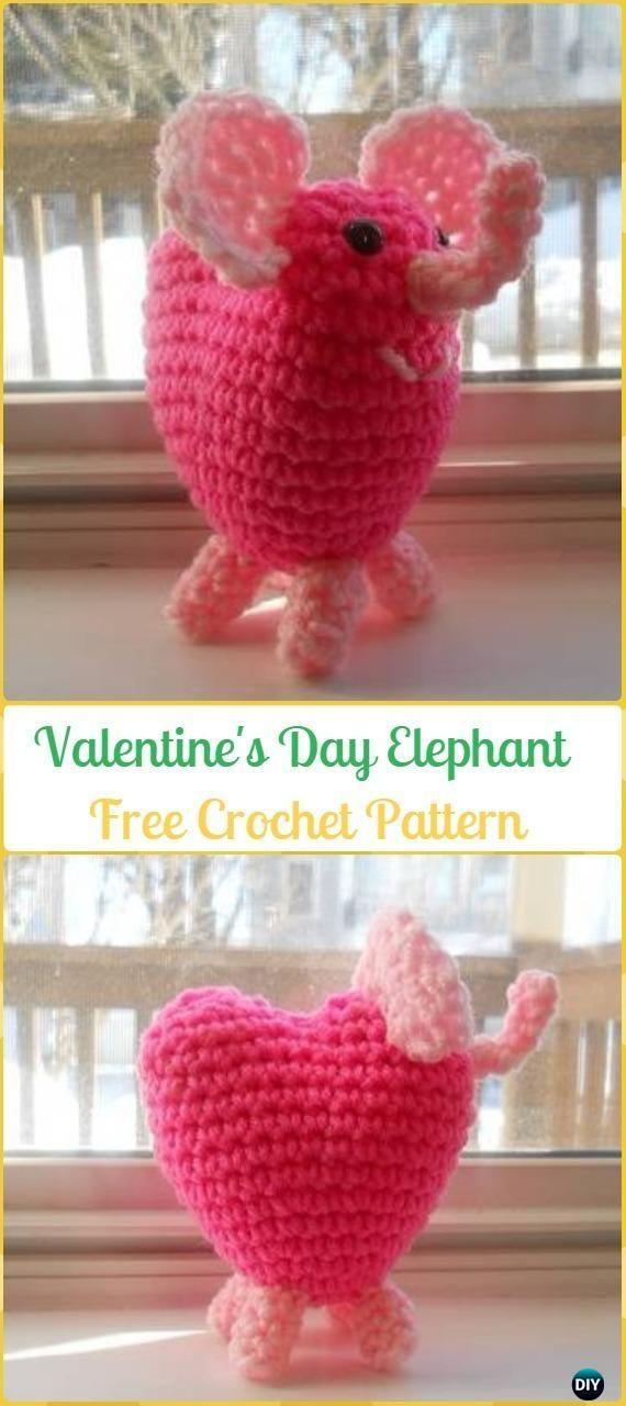 Crochet Valentines Day Elephant Amigurumi Free Pattern Crochet