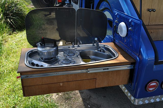 Teardrop camper sink pull out camping campers tents for Teardrop camper kitchen ideas