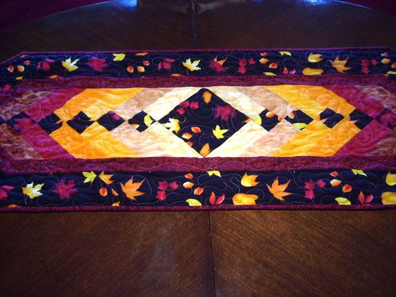 Falling Leaves-Eqyptian Braid-Handmade-Quilted-Table Runner  Made in USA by MJ Quilts    FREE SHIPPING within the United States    Approximately 18 x 57