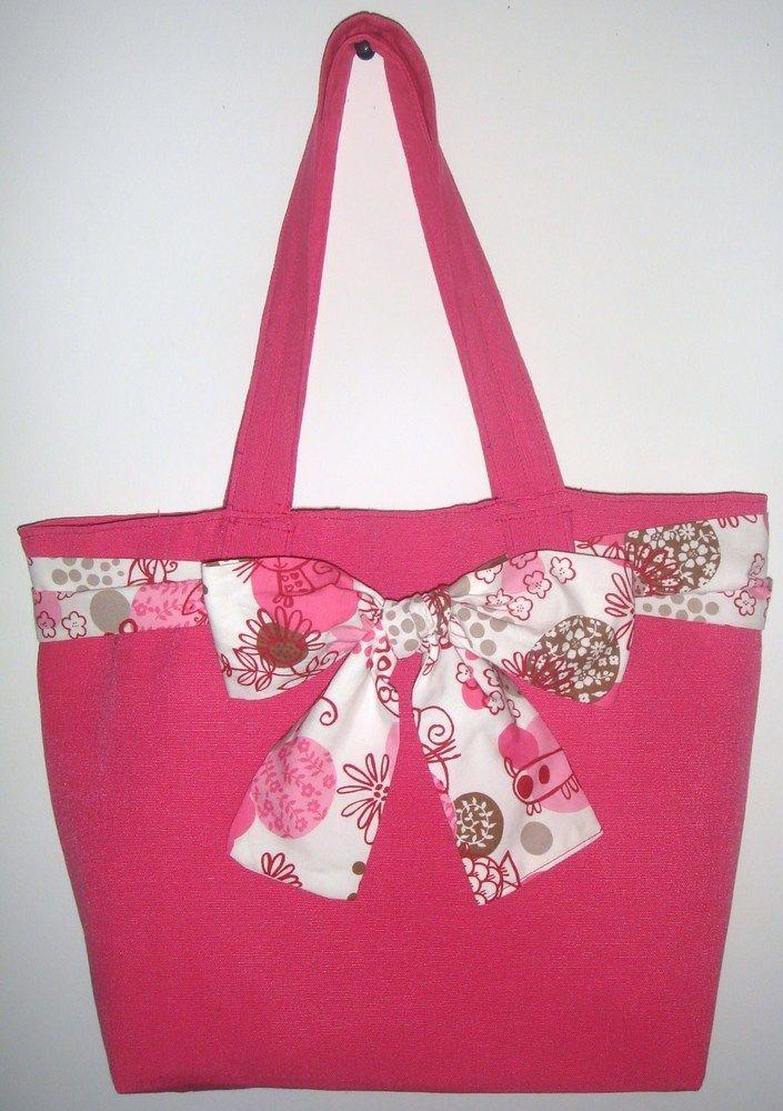 bdc705057 Bolso playa para niña de loneta (tanto exterior como forro) y lazo de  algodón