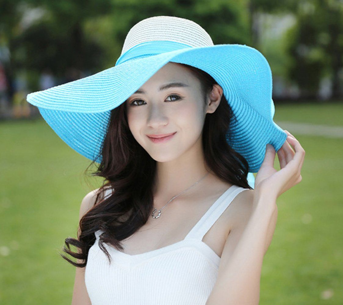 384f56e7 Kaisifei Bowknot Casual Straw Women Summer Hats Big Wide Brim Beach Hat  (Beige) at Amazon Women's Clothing store: