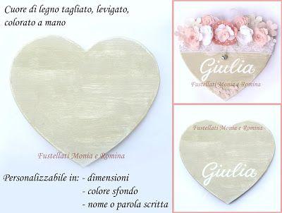 c67ad56fb4 sagoma legno a forma di cuore, da decorare o decorato shabby chic, con fiori