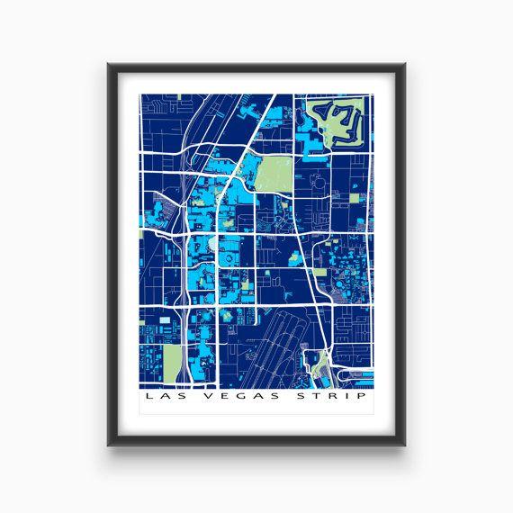 Golf Courses In Las Vegas Map.Las Vegas Map Print Featuring The Strip Area Of Las Vegas Nevada
