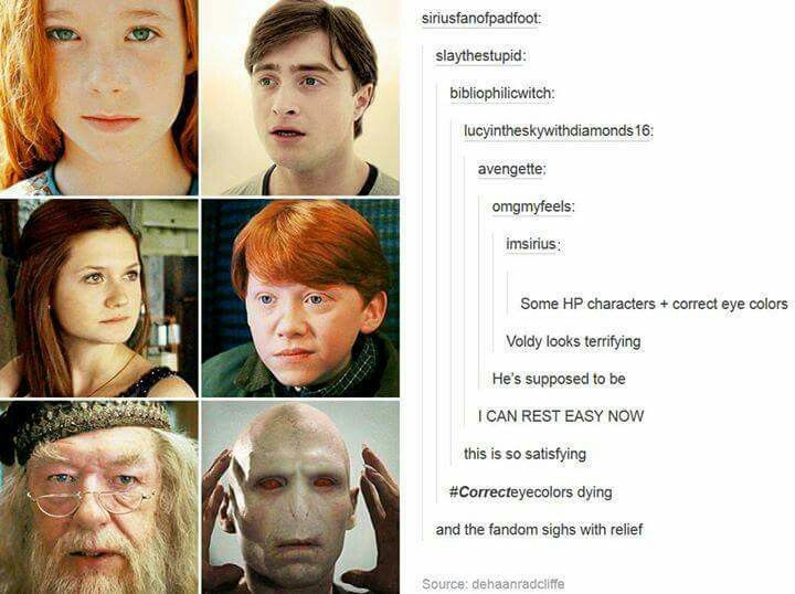 The Correct Eye Colours Harry Potter Universal Harry Potter World Harry Potter Funny