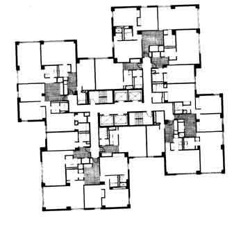 Waterside towers davis brody associates typical floor for Brodie house plan