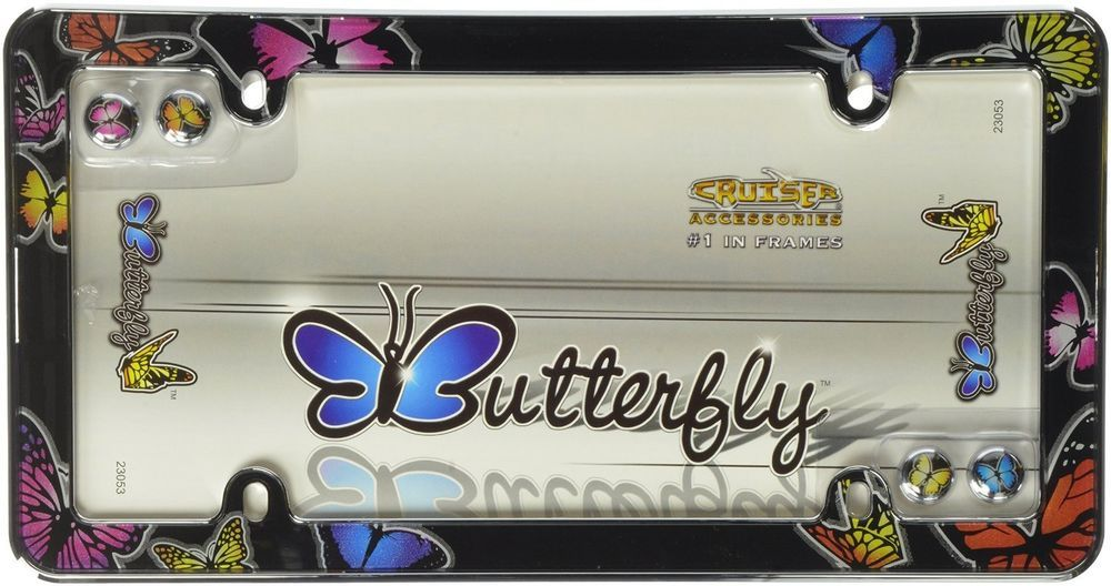 Chrome/Colors Butterfly License Plate Frame Car auto Truck Tag ...