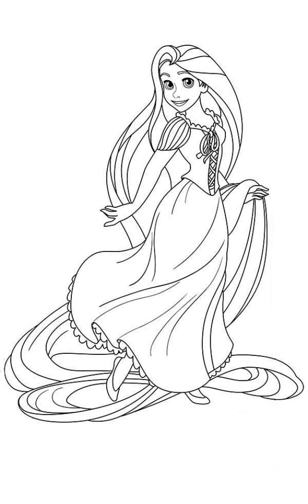 Blonde Hair Rapunzel Coloring Page For Girls | Disney coloring ...