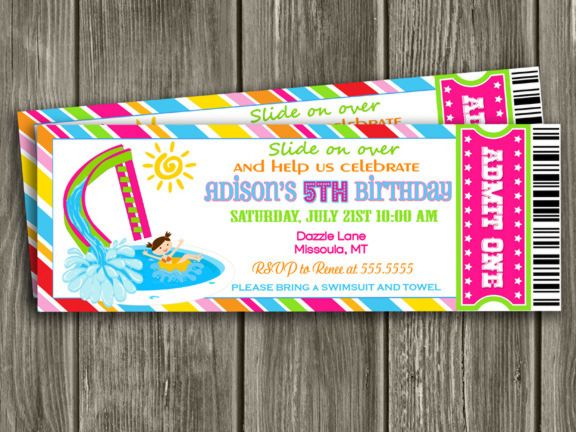 Printable Girl Pool Ticket Birthday Invitation | Pool Party | Water Slide |  Swim | Girl  Party Ticket Invitations